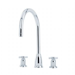 4885 Perrin & Rowe Callisto Three Hole Sink Mixer Tap C Spout with Crosshead Handles